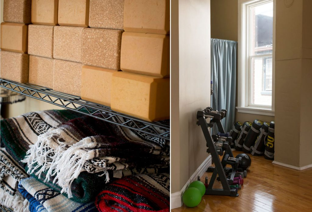 Blankets, blocks and weights for particpants to use without fee.